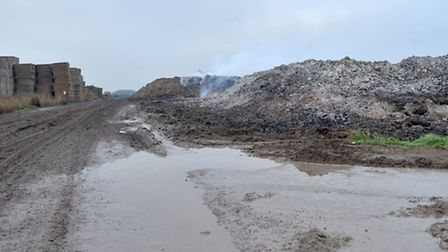 Straw burning holding site at Blockmoor Drove, ,Mepal.