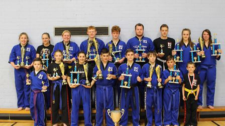 Members of Fenland BCKA who were crowned Peterborough Series Overall Schools Grand Champions 2015. B