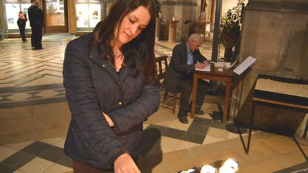 Ely Cathedral Book of Condolences, and prayer candles, for Paris,