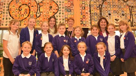 Weatheralls Primary School, Soham, unveil their mural, made by all the pupils, staff, and volunteers
