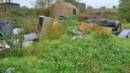 Fly tipping in a 'no tipping' zone at Fenton Way, Chatteris