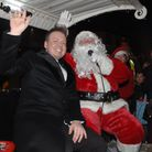 James Ford with Father Christmas, who came with the Great Dunmow Round Table.