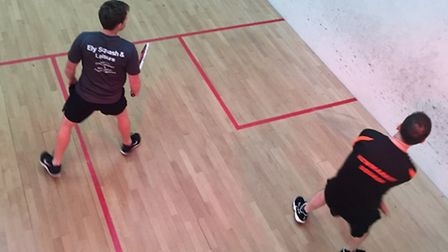Chris Nixon marshalling the T for Ely Squash Club in his victory last Wednesday.