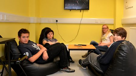 Youth Ely Hub open day, Tyreece, Aidan, Sarah, and Owen, in the tv room,