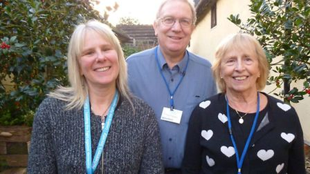 Carol Chilcott and Graham Mansell, Alzheimers Society volunteers with Cathy Brown, group activity co