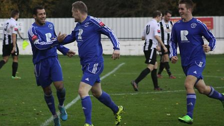 George Darling (centre), pictured here celebrating his goal against Heybridge Swifts earlier in the