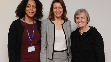 Ely College Principal Evelyn Forde (left) with MP Lucy Frazer (centre) and Tricia Pritchard, chairma