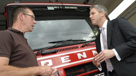Crew Manager at Manea Fire Station, Mark Milner meets MP Steve Barclay during the campaign to stop i