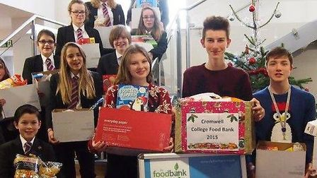 Chatteris foodbank donation from Cromwell students