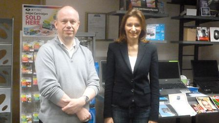 Michael Murfitt of Ely Computers with Lucy Frazer MP