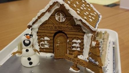 One of the gingerbread houses made by Thomas Clarkson students