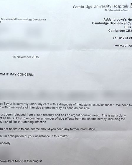 A letter from the doctor's to Shaun Taylor