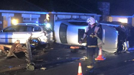 Aftermath of car that crashed into bungalows in Norwood Road, March