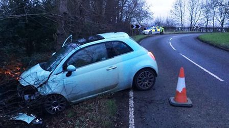 Fiat hits tree in Chatteris