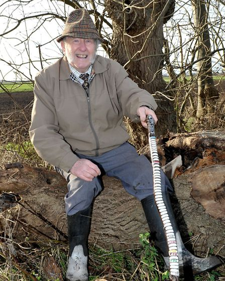 Colin Bedford with his 50 year old walking stick. Picture: Steve Williams.