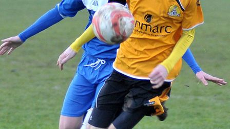 March Town's Matt Cox, who was on target against Cornard United on Saturday, will hope to notch agai