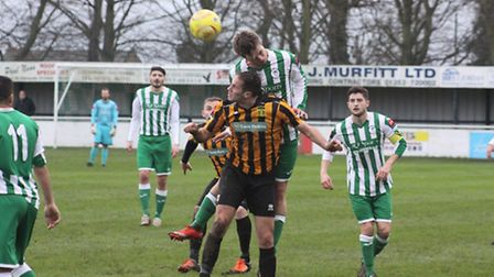 Action from Soham Town Rangers' 1-1 draw with Cheshunt.