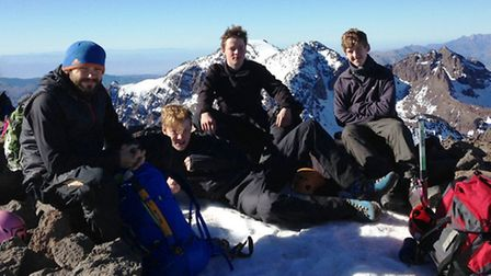 King's Ely students at the top of Morocco's Mount Toubkal.