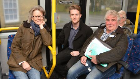 Councillor Anna Bailey, Ely Standard Reporter Seb Pearce and Councillor Bill Hunt aboard the Ely Zip