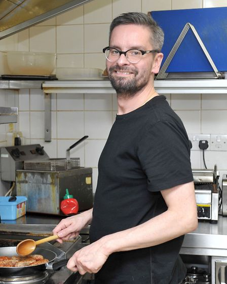 Chef Bartosz Alichper at Paninis market Place, March, who is providing Christmas lunch for those in