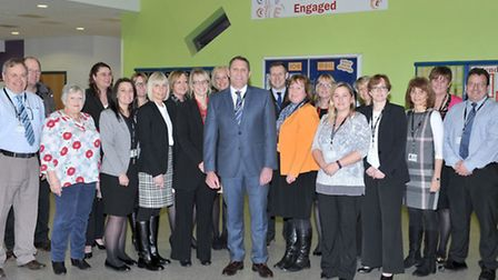 Jason Wing Principal of Neale Wade Academy with staff members. March. Picture: Steve Williams.