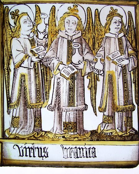 Late 15th century stained glass panel (English), 'Virtues'