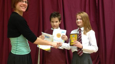 Teacher Louise Smith with pupils Ethan Gray and Sadie Frater-White.