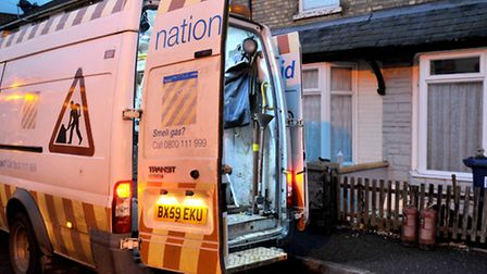 A National Grid van currently on Burnsfield Street tackling the gas leak