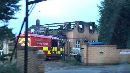 Fire crews at the scene of The Causeway, Thorney, Cambridgeshire, blaze this morning.