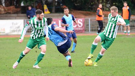 Ross Paterson and George Darling battle for possession against Barkingside. Pictures: Tim Edwards