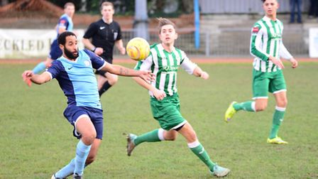 Action from Soham Town Rangers' 1-1 draw with Barkingside.