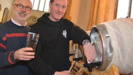 St Andrews Church, Sutton, 3rd Winter Beer Festival, (l-r) Organisers Bruce King, and Phil Bambrick,