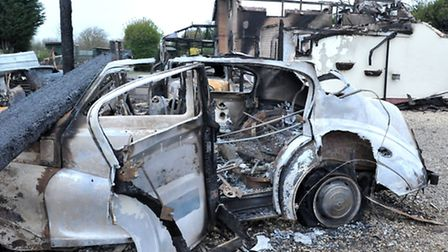 Classic Wedding Cars business and house fire.The Causeway Thorney, Picture: Steve Williams.