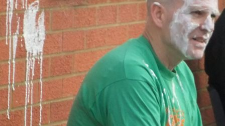 Mr Kennedy, head of Geography, gets pied
