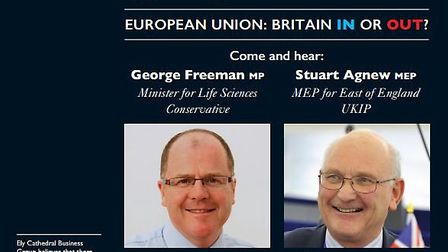 Ely Cathedral Business Group is to hold a debate on Britain's involvement in the European Union.