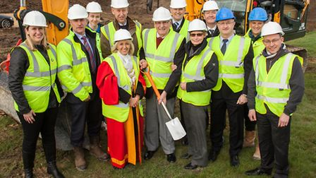 Cutting the first sod for G&J Pecks new HQ. From left to right: Nicola Tuck Grovemere Property Limi