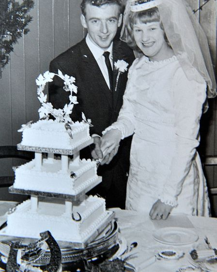 Colin and Olive Bowles on their wedding day