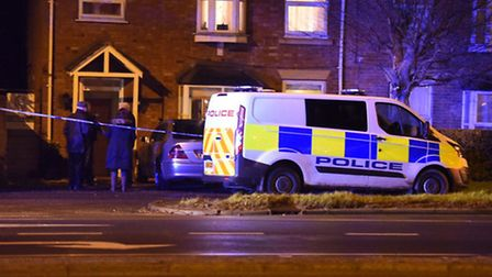 Police officers on the scene at a stabbing in Churchill Road, Wisbech, last night (February 15).
