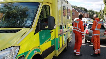 East of England Ambulance Service NHS Trust crew on the scene of an incident