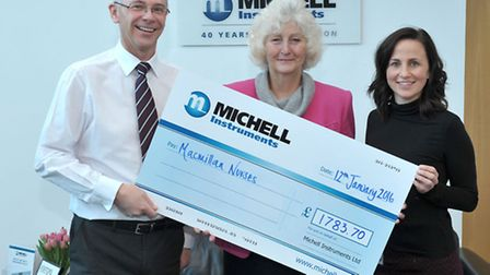 Michel Instruments, Lancaster Way Business Park, Ely presented a cheque for £1,783.70. Picture: Stev