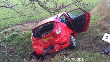One of the cars involved in the crash on New Road, Chatteris, this morning