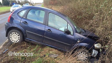 The second car involved in the crash on New Road, Chatteris, this morning