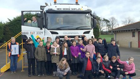 Robert Arkenstall Primary School pupils hosted a visit from construction suppliers Mick George.