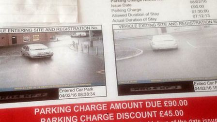Mrs Gray's parking fine letter implying she stayed in Lidl's car park for nearly five times over the