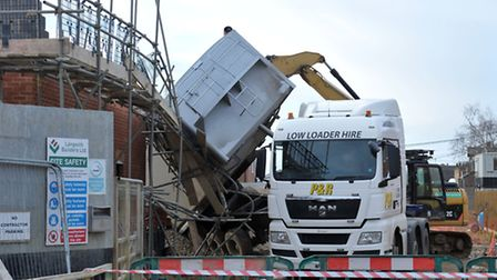 Tipped up Tipper lorry, Gaul road . March. Picture: Steve Williams.