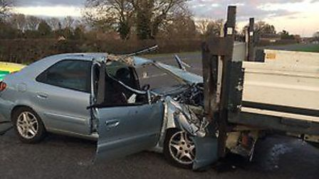 The scene of an accident on the A1303 in Bottisham on Tuesday February 2.