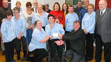 Whittlesey Masons Present Cheque to Scaldgate Club.