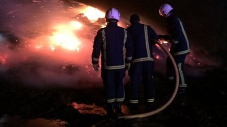 Stack fire at Byall Fen Drove Manea