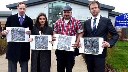 Councillor Daniel Divine (UKIP), Connie Anker (Steve Barclay office), site manager Lindsay Winters a