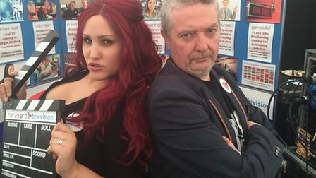 Jade Cawthorn (Director) and alex:g (Station Director) at the launch of Hereward Television, live fr